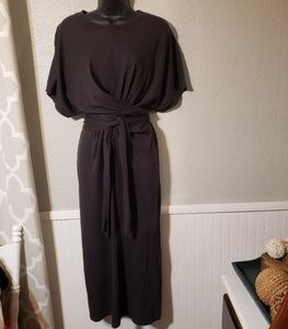 Zara Dresses - Zara tee shirt dress with tie sz small, charcoal